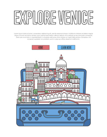 Explore Venice poster with open suitcase and city buildings and landmark.