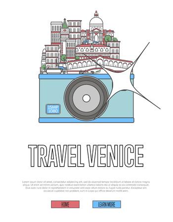 カメラや都市の建物やランドマークとヴェネツィアのポスターを旅行。