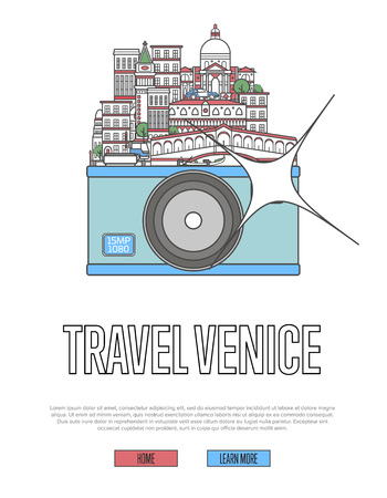 Travel Venice poster with camera and  city buildings and landmark. Illustration