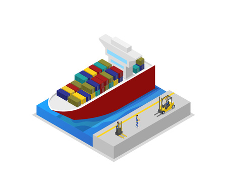 Container ship in port isometric 3D icon Stock Photo