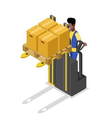 Forklift cart loading boxes isometric 3D icon