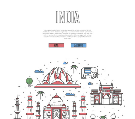 India travel tour poster with national architectural attractions. Indian famous landmarks and traditional symbols on white background. Touristic advertising vector layout in trendy linear style.