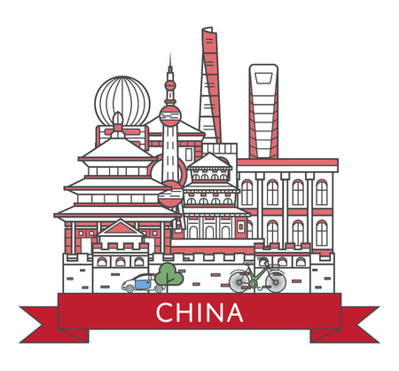 Travel China poster with national architectural attractions in trendy linear style. Chinese famous landmarks on white background. Country tourism advertising and asian voyage vector concept. Illusztráció
