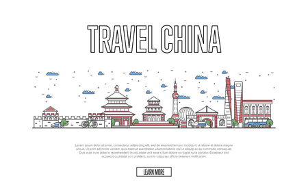 Travel China poster with architectural attractions in linear style. Worldwide traveling, time to travel concept. Chinese skyline with famous landmarks, country tourism and journey vector background. Illusztráció