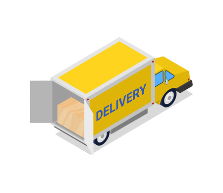 Yellow delivery truck isometric 3D icon. Modern lorry truck, vehicle for cargo transportation, trucking and delivery service vector illustration Illustration