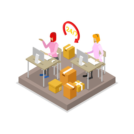Warehouse logistics concept with call center dispatcher isometric 3D icon. Management and delivery transportation vector illustration.