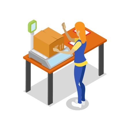 Warehouse worker with parcel on scales isometric 3D icon. Storage logistics and delivery transportation service vector illustration isolated on white background.