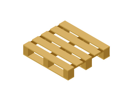 Wooden pallet isometric 3D icon. Shipping and delivery logistics, goods packing object vector illustration