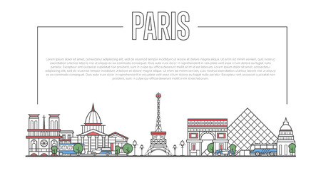 Paris city landmark panorama with famous modern and ancient architecture in trendy linear style. Parisian national landmarks on white background. Worldwide traveling and journey vector concept. Stock Vector - 92025689