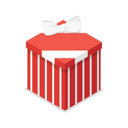 Red closed gift box isometric 3D icon