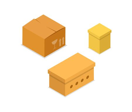 Cardboard boxes isometric 3D icon