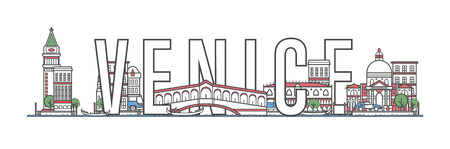 Venice travel lettering in linear style