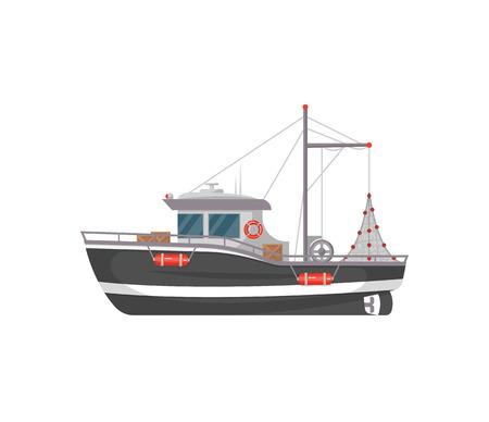 Kleine vissersboot zijaanzicht geïsoleerde pictogram. Zee- of oceaantransport, marineschip voor industriële zeevruchtenproductie vectorillustratie in vlakke stijl.