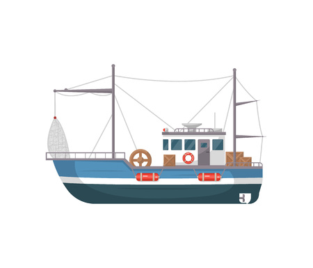Commercial fishing ship side view isolated icon. Sea or ocean transportation, marine vessel for industrial seafood production vector illustration in flat style.