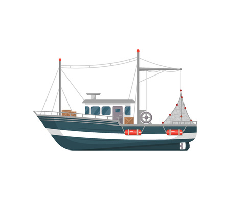Commercial fishing vessel side view isolated icon. Sea or ocean transportation, marine ship for industrial seafood production vector illustration in flat style.