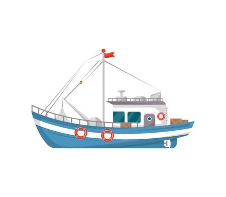 Icona isolata vista laterale commerciale del peschereccio. Trasporto marittimo o oceanico, nave marina per l'illustrazione industriale di vettore di produzione di frutti di mare in stile piano.