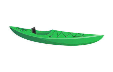 Side view green kayak isolated icon. Rafting, kayaking, paddling and canoeing outdoor activity. Extreme water sport, relaxation on river or lake, adventure by boat vector illustration. Illustration