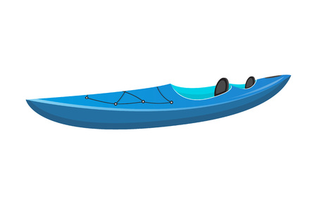 Side View Blue Sport Kayak Isolated Icon Rafting Kayaking Paddling And Canoeing Outdoor