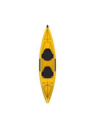 Plastic yellow travel kayak isolated icon. Rafting, kayaking, paddling and canoeing outdoor activity. Extreme water sport, relaxation on river or lake, adventure by boat vector illustration. Illustration