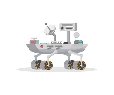 Mars rover with camera and antenna icon. Robotic space autonomous vehicle for planet exploration and cosmic colonization vector illustration in flat style. 일러스트