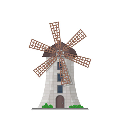 European stone windmill building isolated icon. Rural bakery shop, organic agricultural production, ecological food manufacturing vector illustration.