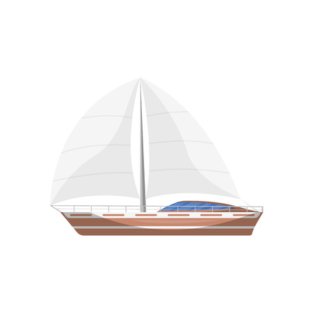 Travel sailboat side view isolated icon
