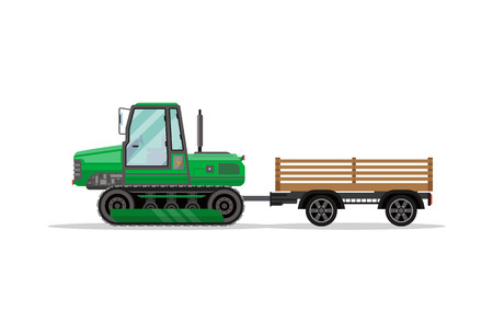 Heavy caterpillar tractor with trailer icon