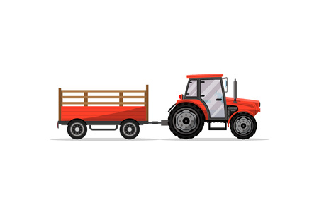 Heavy wheeled tractor with trailer icon