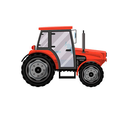 Red wheeled tractor isolated icon