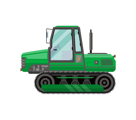 Green caterpillar tractor isolated icon Illustration