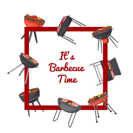 Barbecue time poster with charcoal grills