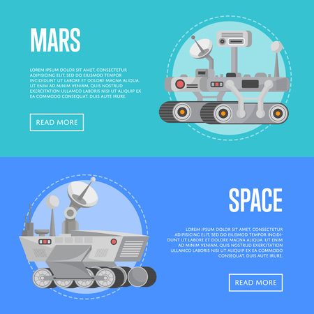 Mars exploration flyers with research rovers Illustration