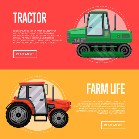Heavy agricultural machinery flyers set Illustration