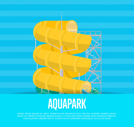Aquapark poster with water slide Çizim