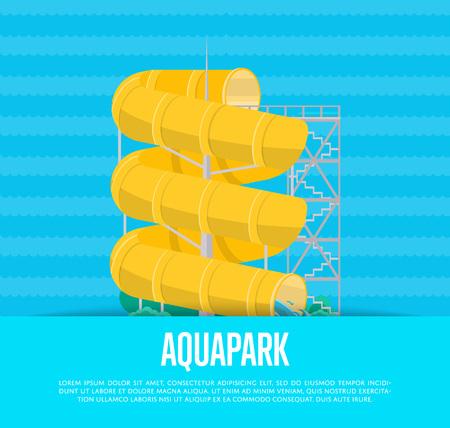 Aquapark poster with water slide Illustration
