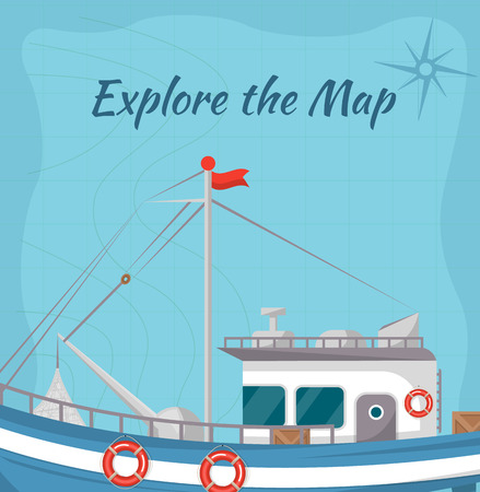 Explore the map poster with ship