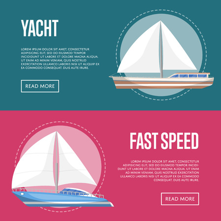 Yachting and cruising yachts flyers with sailboats in a flat vector design
