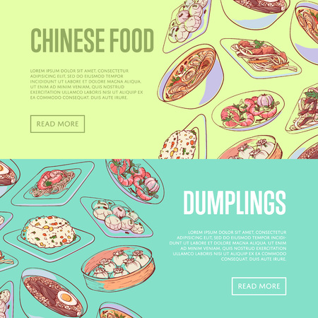 Chinese food flyers with famous asian dishes. D