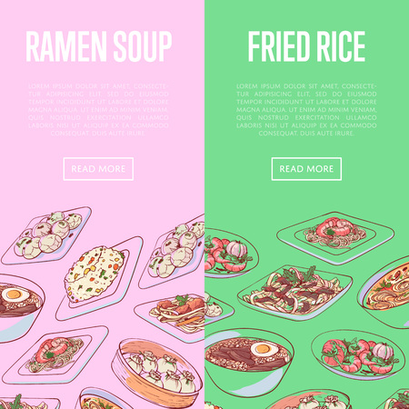 Chinese restaurant flyers with famous Asian dishes. Dumplings, fried rice with vegetables, marble eggs, ramen soup, noodles with seafood vector illustration. Assorted delicious oriental cuisine menu.