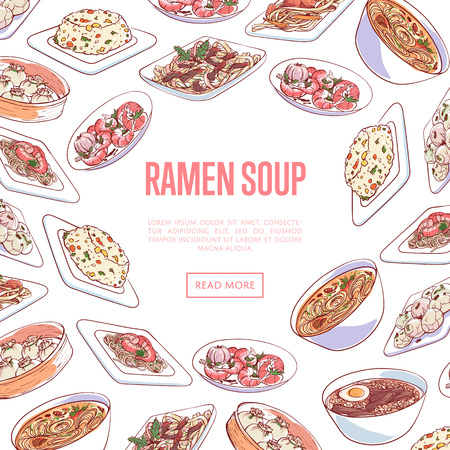 Chinese ramen soup poster with dumplings, fried rice with vegetables, marble eggs, noodles with seafood dishes. Asian restaurant menu advertising, assorted famous oriental cuisine vector illustration.