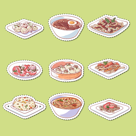 Chinese cuisine dishes isolated labels. Dim sum, fried rice with vegetables, marble eggs, ramen soup, noodles with seafood vector illustration. Restaurant menu element, famous oriental food sketchs.