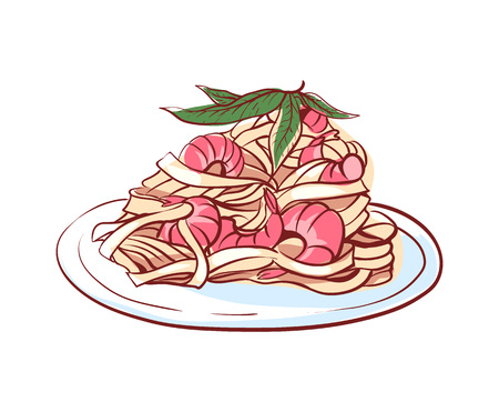 Pasta with shrimps icon isolated on white background. Italian cuisine dishes label, restaurant menu design element vector illustration.