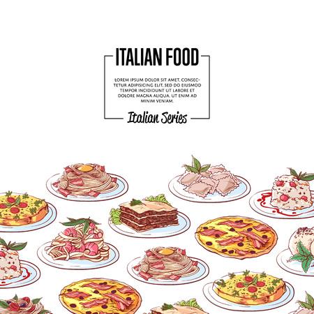 Italian food poster with pizza, pasta with shrimp, ravioli, tiramisu, frittata, spaghetti bolognese, lasagna, panna cotta dishes on white background. Italian restaurant menu design vector illustration
