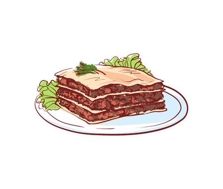 Delicious lasagna icon isolated on white background. Italian cuisine dishes label, restaurant menu design element vector illustration. Illustration