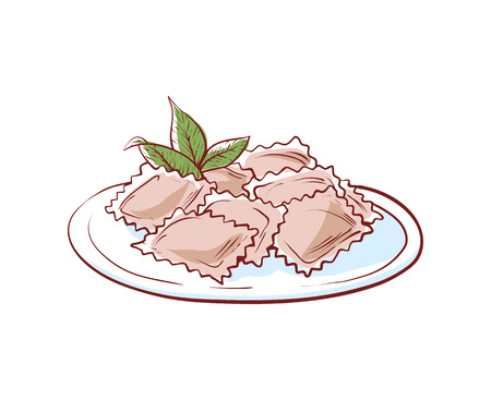 Delicious ravioli icon isolated on white background. Italian cuisine dishes label, restaurant menu design element vector illustration. Illustration