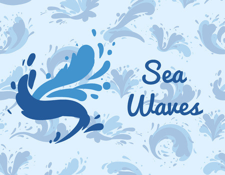 Sea waves poster with water splash element. Summer rest and marine leisure, natural nautical design vector illustration.