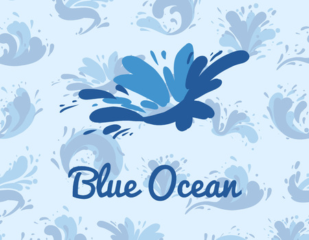 Blue ocean poster with water splash element. Abstract wavy flow, tide water roller, foamy and stormy sea wave sign. Summer rest and marine leisure concept, natural nautical vector illustration.