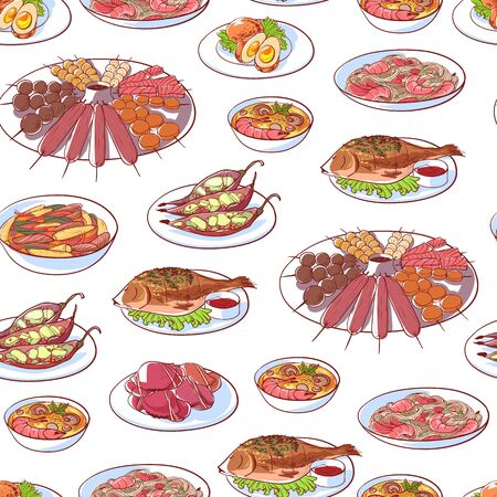 Thai cuisine dishes on white background. Seamless pattern with tom yam soup, steamed rice, satay skewers, green curry, fish and crabs, noodles. Asian restaurant menu element vector illustration. Ilustração