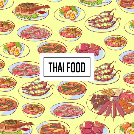 Thai food poster with asian cuisine dishes. Restaurant menu element vector illustration.  イラスト・ベクター素材
