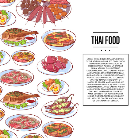 Thai food poster with tom yam soup, steamed rice, satay skewers, green curry, fish and crabs, noodles with shrimp and papaya salad cuisine dishes. Asian restaurant menu element vector illustration Illustration